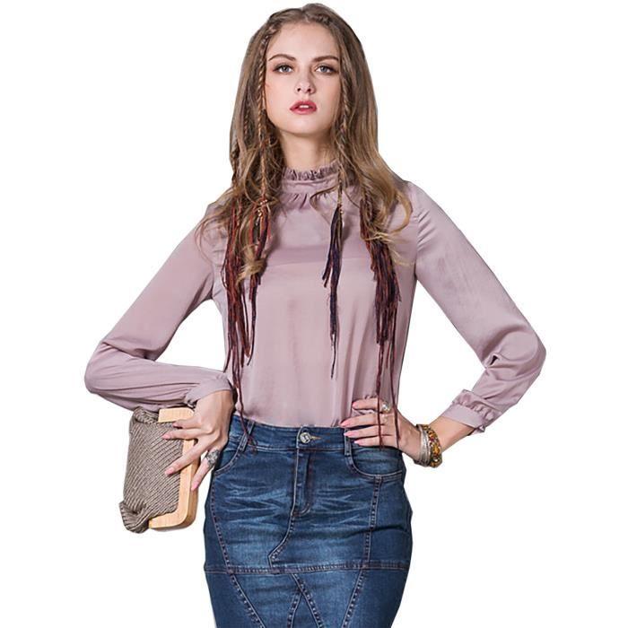 Printemps 2017 vintage bureau rose femmes chemise manches longues l gant chemisier rose rose - Look bureau femme 2017 ...