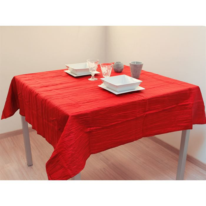 Nappe carree 140x140 cm bambou rouge effet froisse achat - Nappe table carree ...