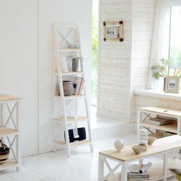 Tag re biblioth que colonne de rangement acajo achat vente etag re murale etag re blanche for Etageres ceramiques blanche