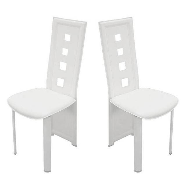 2 chaises design lima pvc haute qualite blanc achat. Black Bedroom Furniture Sets. Home Design Ideas