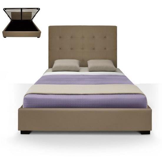 Lit coffre dream sommier 140cm taupe achat vente structure de lit lit c - Sommier pour lit coffre ...