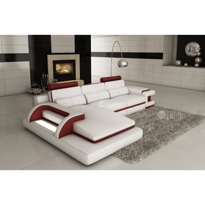 Canap d 39 angle en cuir italien 6 places vinoti et achat vente canap sofa divan Canape d angle italien