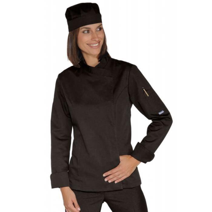 veste de cuisine femme noire snaps noir achat vente veste professionnelle les soldes sur. Black Bedroom Furniture Sets. Home Design Ideas