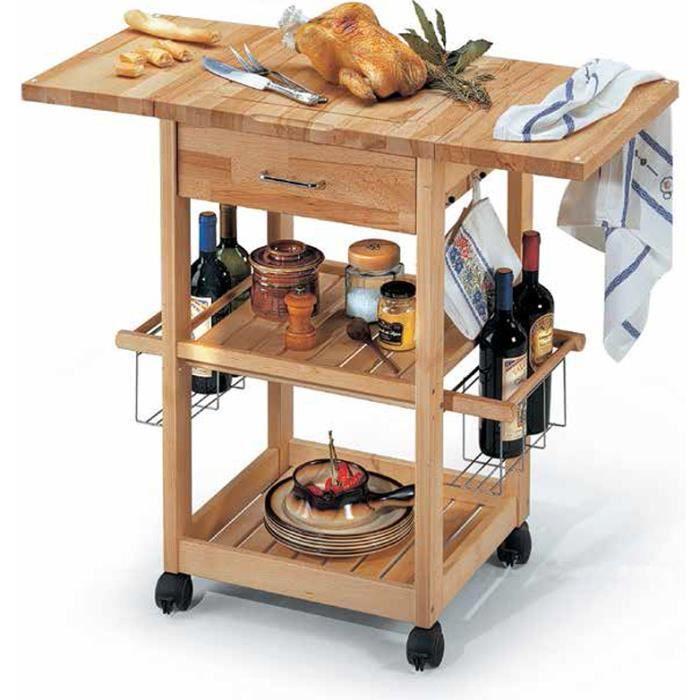 Table roulante udine avec tiroir en bois massif achat for Table cuisine avec tiroir