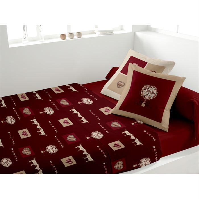 drap de lit 1 personne rouge. Black Bedroom Furniture Sets. Home Design Ideas