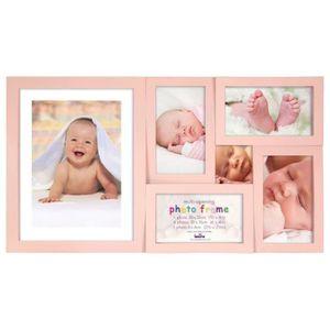 PÊLE-MÊLE PHOTO Cadre photo pêle-mêle bébé 6 photos rose