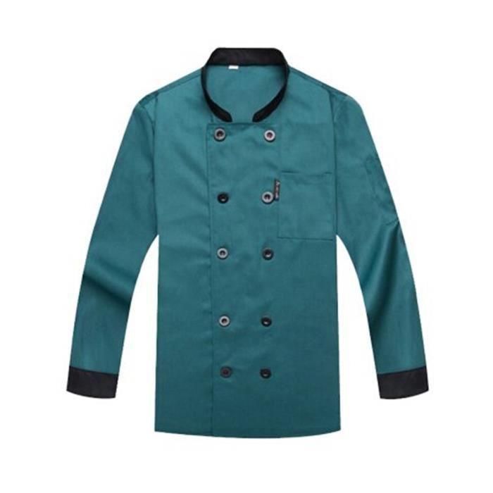 veste de cuisinier homme et femme respirant aux manches longues l vert professionnel cadeau. Black Bedroom Furniture Sets. Home Design Ideas