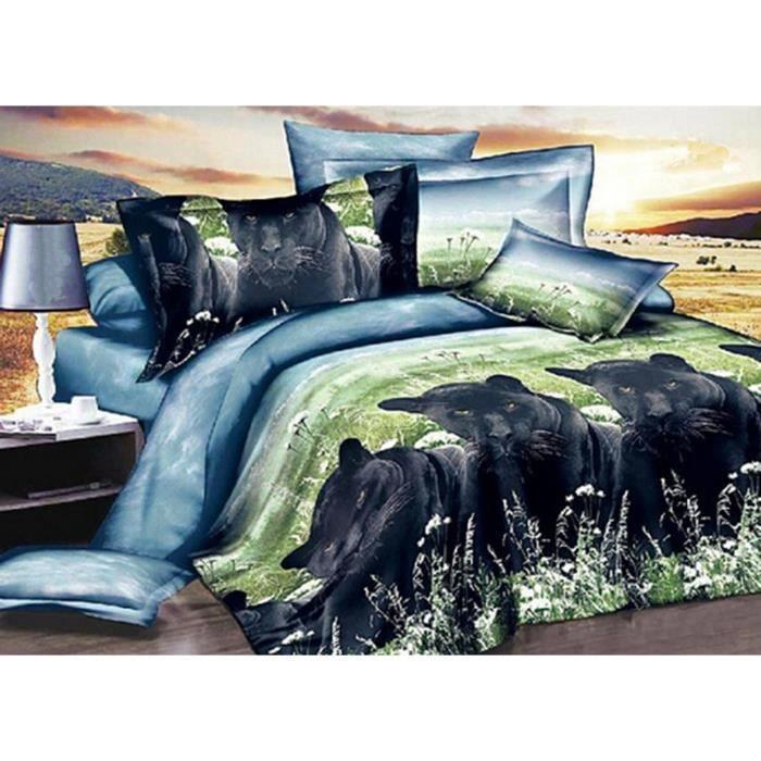 housse de couettes 3d animal draps de lit couette taies d 39 oreiller 4pc 11 achat vente. Black Bedroom Furniture Sets. Home Design Ideas