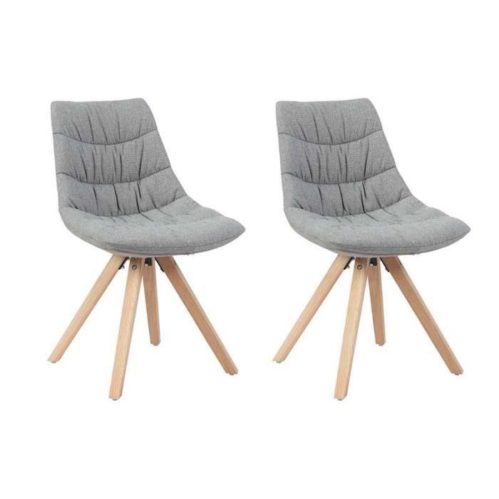 Lot de 2 chaises tapiss es grises pieds en bois de h tre for Chaise grise bois