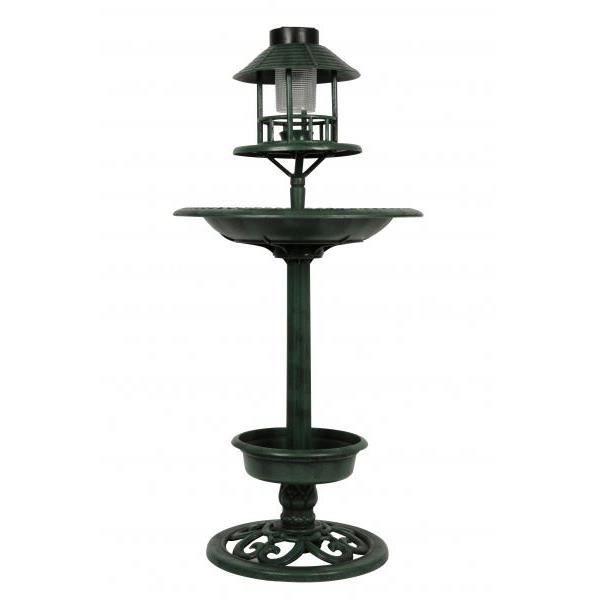 Abri de jardin pour oiseaux avec lampe led solaire et pied - Oiseaux metal pour jardin ...