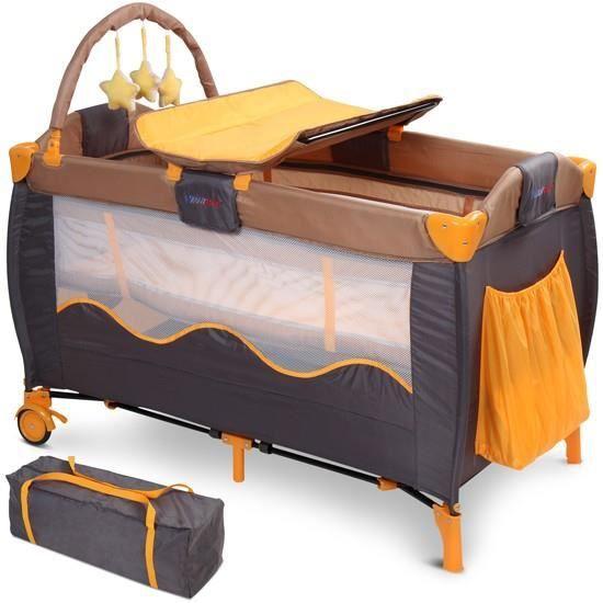 lit b b de voyage pliant lit parapluie roulettes avec matelas et sac de transport marron. Black Bedroom Furniture Sets. Home Design Ideas