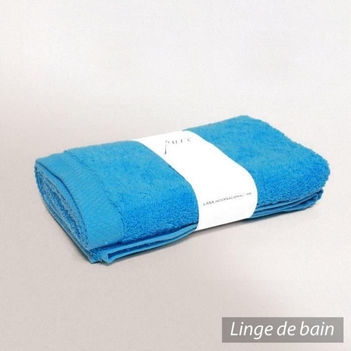 drap de douche 70x180 cm pure bleu oc an 550 g m2 achat vente serviettes de bain cdiscount. Black Bedroom Furniture Sets. Home Design Ideas