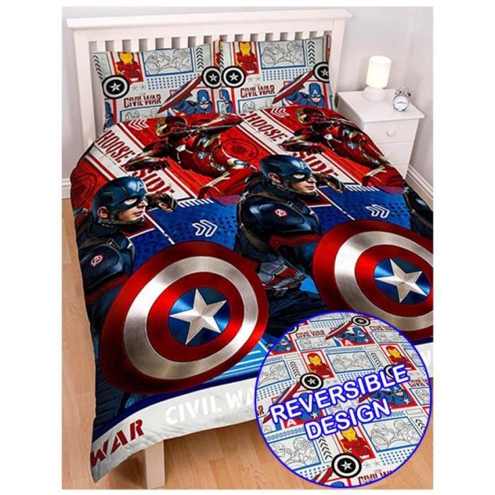 parure de lit double captain america achat vente parure de couette cdiscount. Black Bedroom Furniture Sets. Home Design Ideas