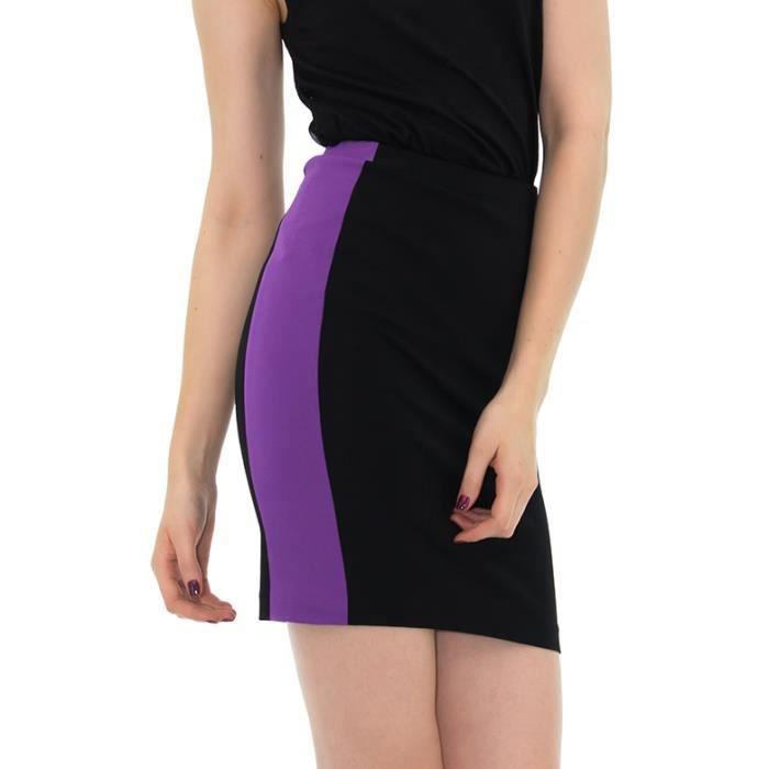 jupe moulante noir et violettes noir achat vente jupe cdiscount. Black Bedroom Furniture Sets. Home Design Ideas