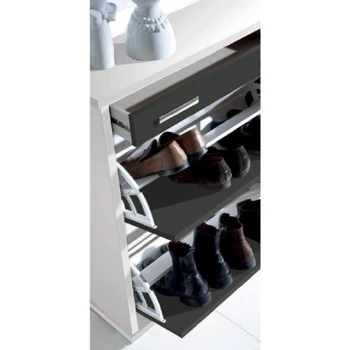 Commode chaussures avec 2 portes battantes tiroir coloris blanc vintag - Commode a chaussures ...