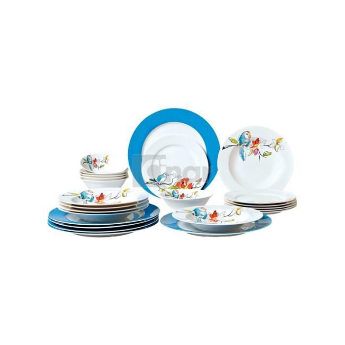 Service de table en porcelaine bleu a motif 24pcs achat - Service de table bleu ...