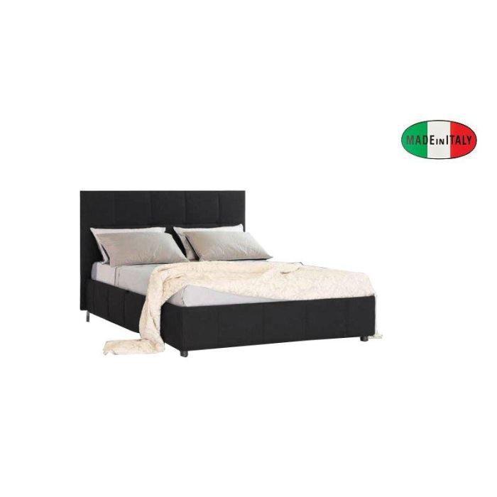 Lit coffre design romeo noir couchage 140 190cm achat vente structure de - Cdiscount lit coffre ...