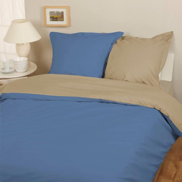 parure housse de couette flanelle 100 coton bicolore bleu taupe 240x220 cm 2 taies d. Black Bedroom Furniture Sets. Home Design Ideas