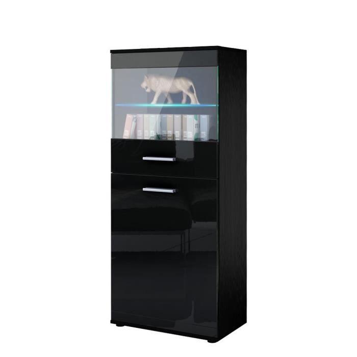 vitrine noir laque achat vente vitrine noir laque pas cher les soldes sur cdiscount. Black Bedroom Furniture Sets. Home Design Ideas