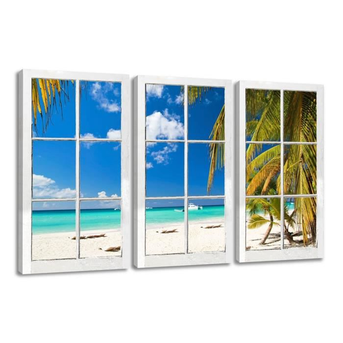 Tableau 160 x 90 cm fen tre avec vue mers du sud achat for Decoration tableau fenetre