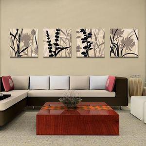 TABLEAU - TOILE Unframed 4 Panels Peintures à l'huile Fleurs abstr