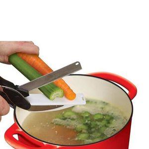 COUTEAU DE CUISINE  Ciseau couteau des légumes 2 en 1 en acier inoxyda