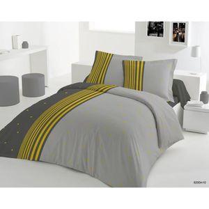 housse de couette 260x240 grise achat vente housse de. Black Bedroom Furniture Sets. Home Design Ideas