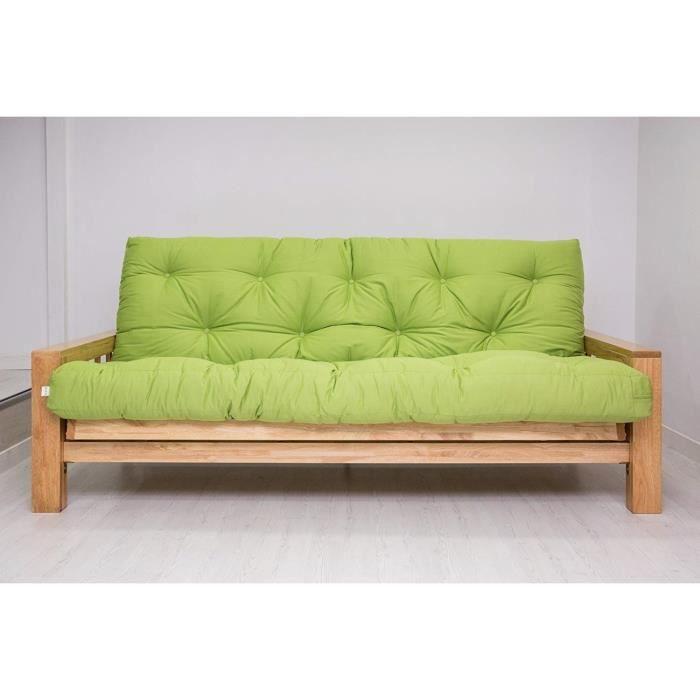 Canap lit bifold housse orange 100x208x78 cm achat for Housse divan lit