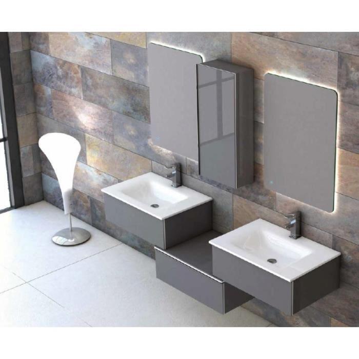 meuble suspendu salle de bain duo 175 avec colonne chene. Black Bedroom Furniture Sets. Home Design Ideas