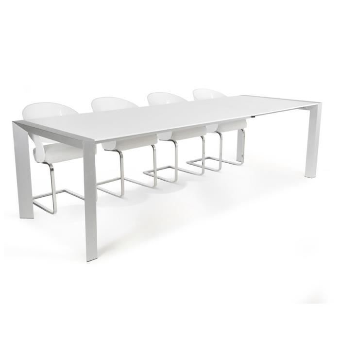 Table d ner extensible 39 algo 39 design blanche avec for Table a diner extensible
