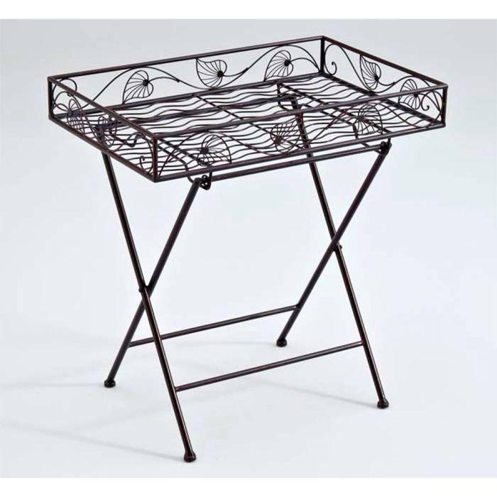 plateau sur pieds feuilles en fer forg patin achat vente table d 39 appoint plateau sur. Black Bedroom Furniture Sets. Home Design Ideas