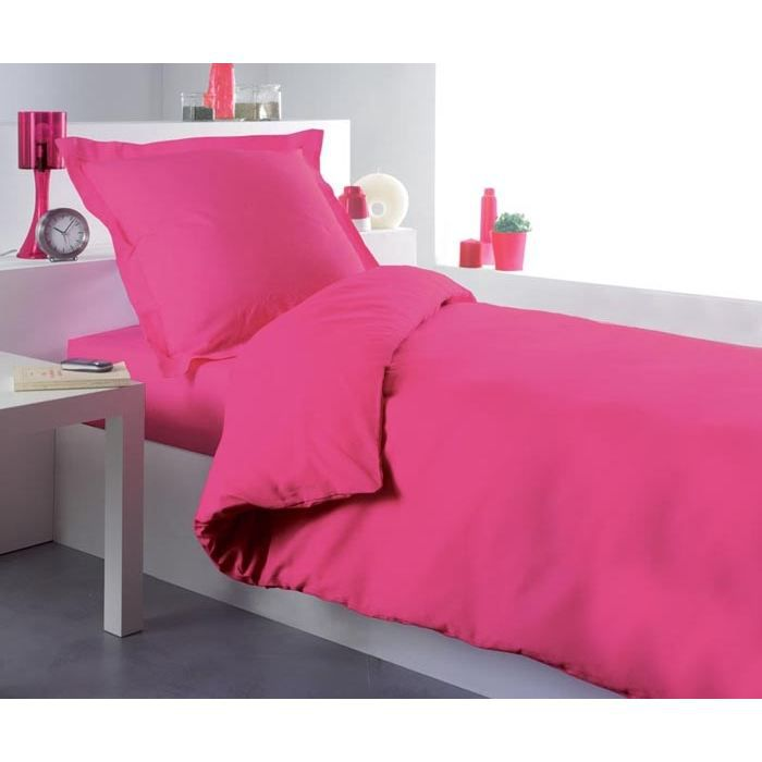 housse de couette 140x200 lit uni rose bonbon achat. Black Bedroom Furniture Sets. Home Design Ideas