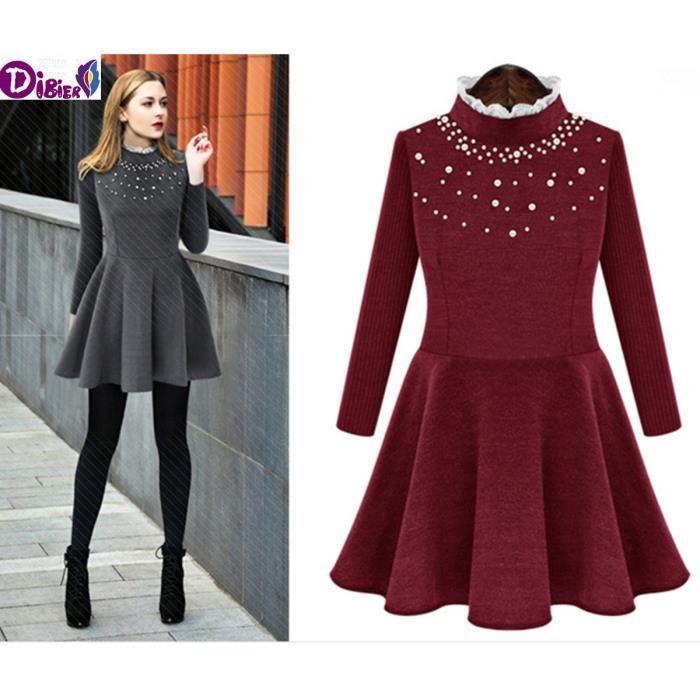 Printemps Mode féminine Robes simples Woolen 2016 nouveaux européens et américains Solide Couleur manches longues tricot Robes