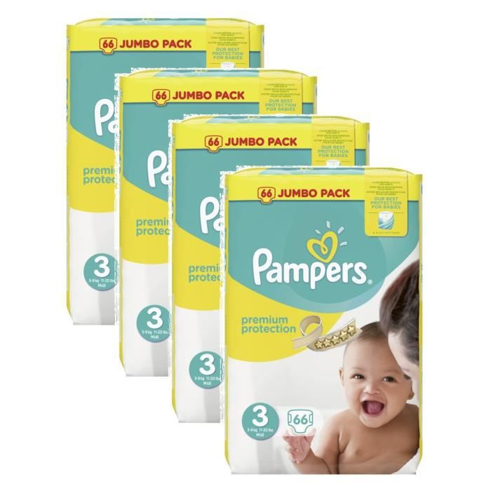 pampers premium protection taille 3 midi 5 9kg jumbo pack 264 couches achat vente couche. Black Bedroom Furniture Sets. Home Design Ideas