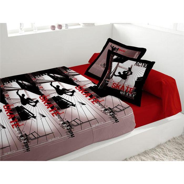 Parure de lit 4 pi ces lit 2 pers w ramp rouge achat for Parure de lit rouge
