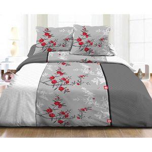 housse de couette gris et rouge achat vente housse de couette gris et rouge pas cher cdiscount. Black Bedroom Furniture Sets. Home Design Ideas
