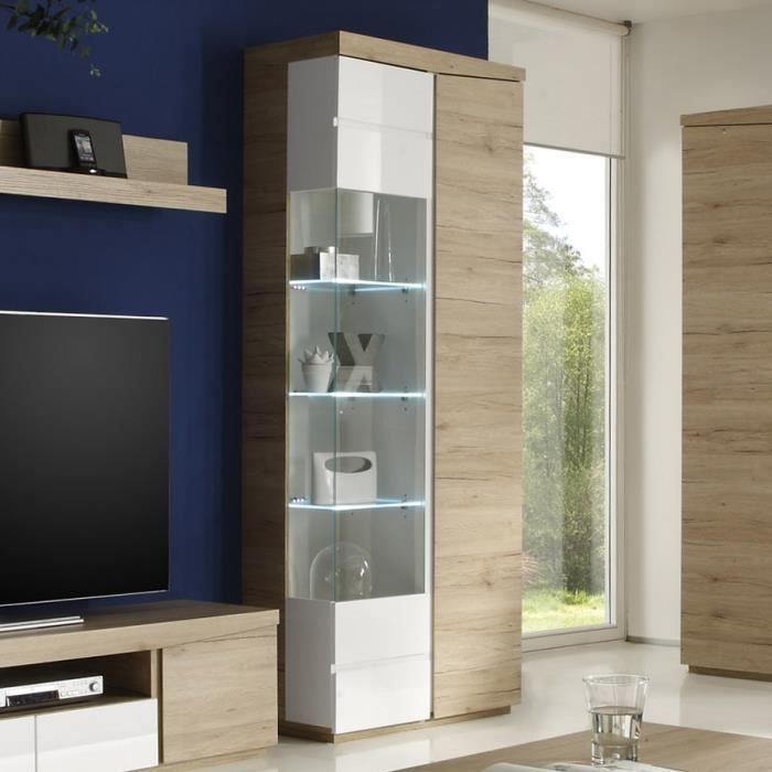 vitrine couleur ch ne clair et laqu blanc moderne nesbo sans led porte gauche achat vente. Black Bedroom Furniture Sets. Home Design Ideas