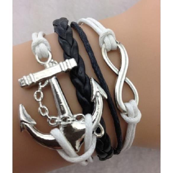 Bracelet blanc ancre de bateau et lien infini achat vente bracelet gourmette bracelet - Bracelet couple ancre ...