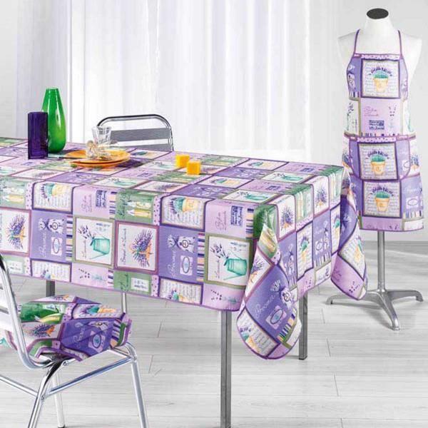nappe bouquet de lavande 2m40 x 1m50 anti tache achat. Black Bedroom Furniture Sets. Home Design Ideas