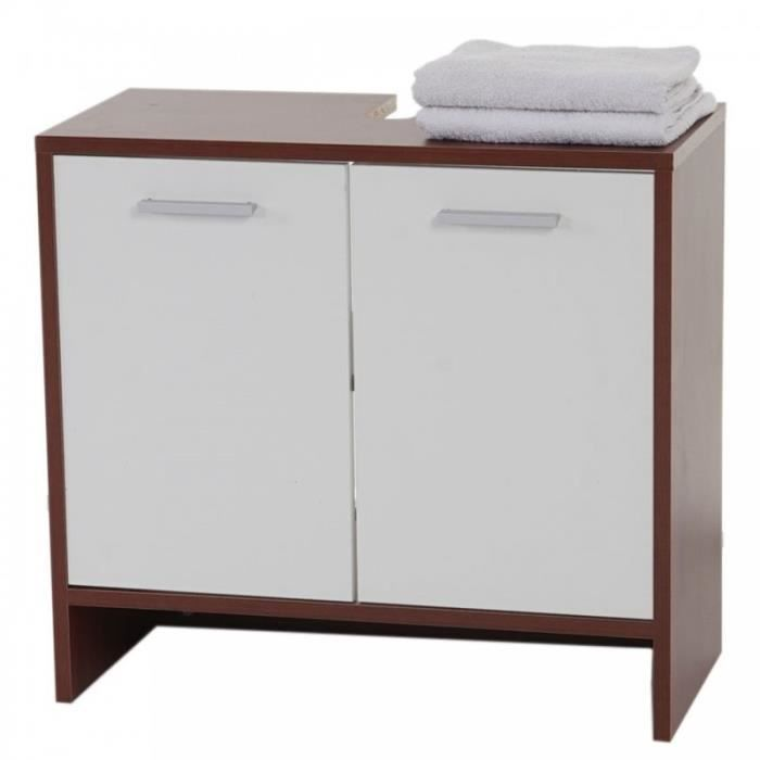 armoire lavabo meuble de salle de bain 56x60x28cm marron. Black Bedroom Furniture Sets. Home Design Ideas