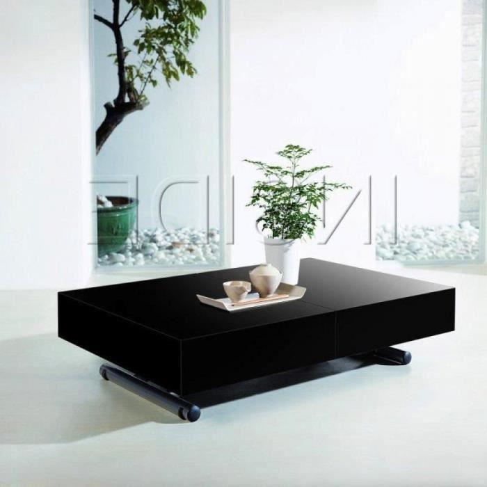 Table relevable extensible itaca noire brillante 12 - Table extensible et relevable ...