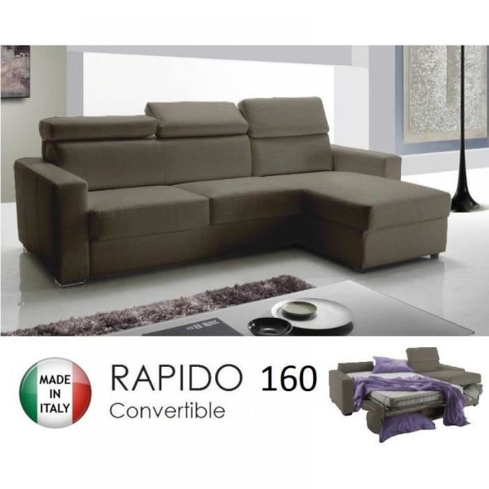 Canap d 39 angle r versible rapido sidney 160 cm coffre for Canape d angle cuir taupe