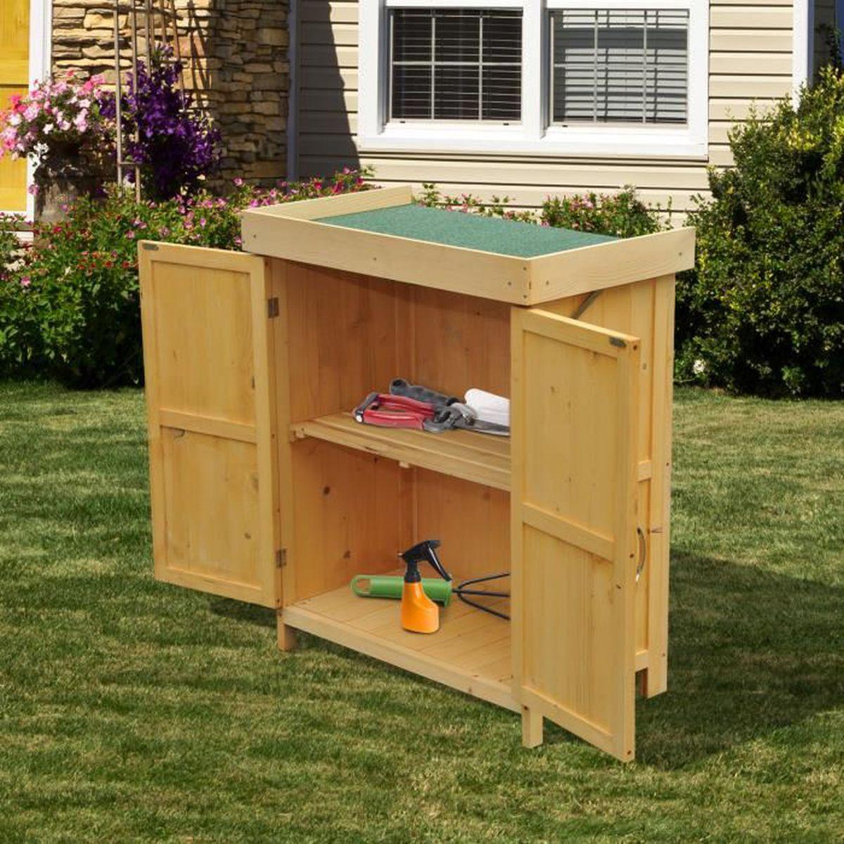 Armoire abri de jardin en bois pour outils toit ouvrant 2 for Porte exterieur pour jardin