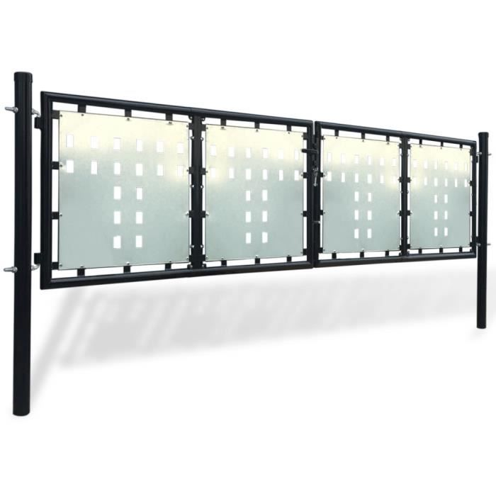 Portillons portillon de jardin double noir 300 x 150 cm for Double portillon jardin