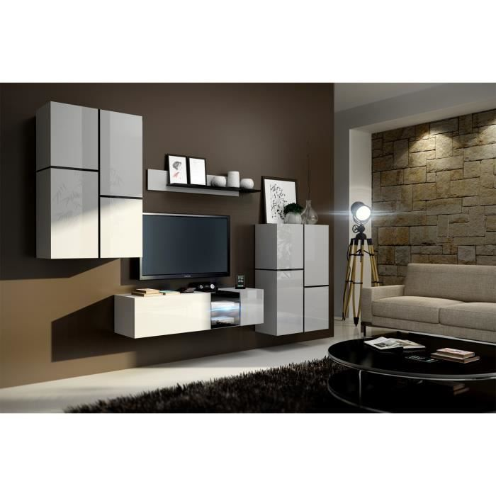 meuble de salon meuble tv complet suspendu inbox blanc led meuble design et tendance avec. Black Bedroom Furniture Sets. Home Design Ideas