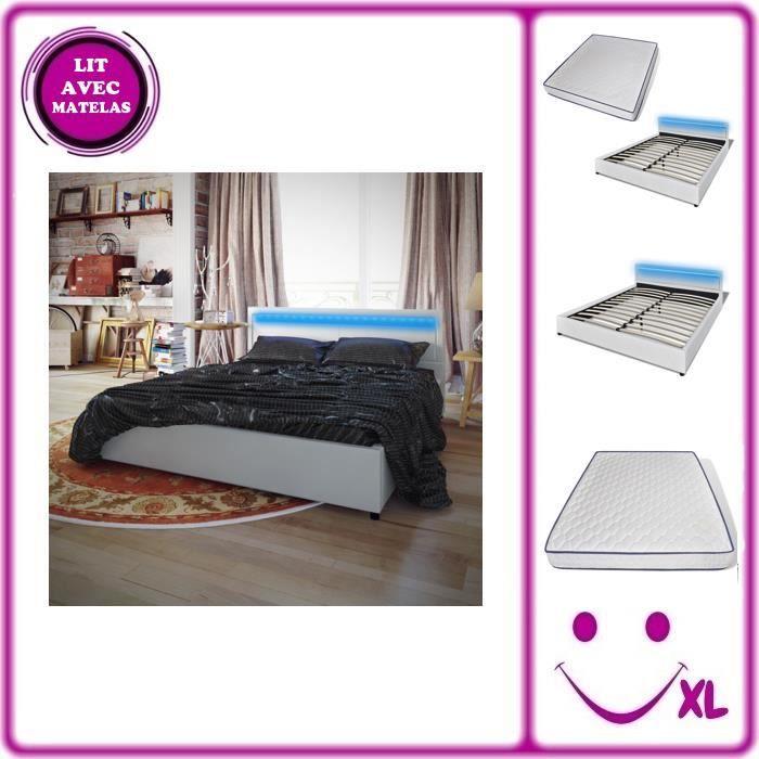 lit en similicuir avec t te de lit led matelas 200 x 180 cm blanc achat vente chambre. Black Bedroom Furniture Sets. Home Design Ideas