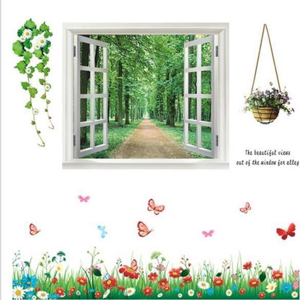 Stickers muraux fen tre fleurs et des papillons achat for Fleurs vente