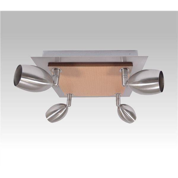 plafonnier en bois et metal 4 lumieres spots orientables applique plafond achat vente. Black Bedroom Furniture Sets. Home Design Ideas