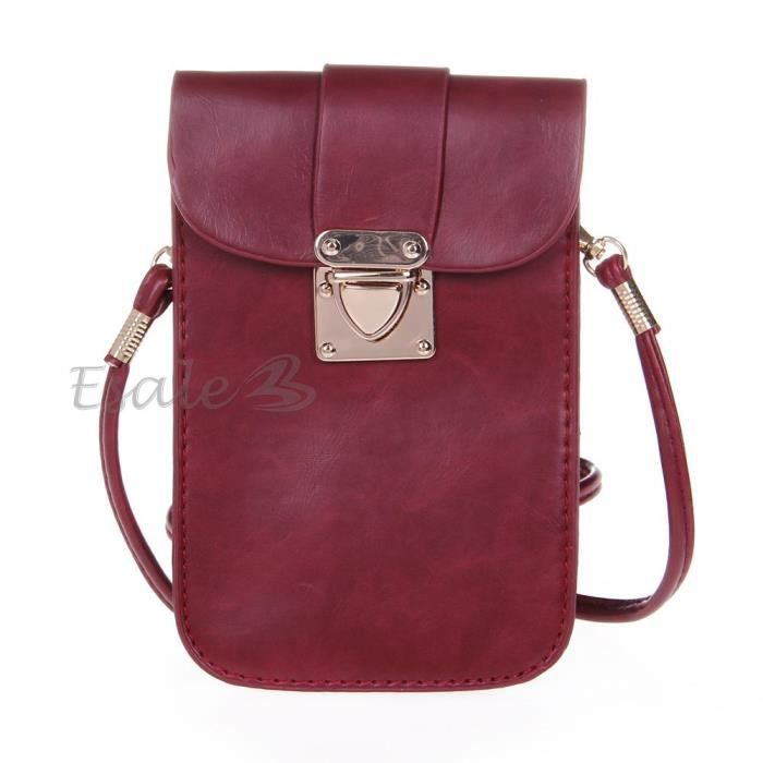 mini sac pochette en pu bordeaux bandouli re epaule crois crossbody mode femme achat vente. Black Bedroom Furniture Sets. Home Design Ideas