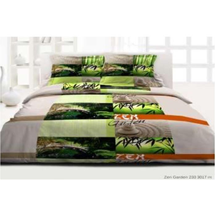 housse de couette 39 39 zen garden 220 x 240 2 taies d 39 oreiller 63 x 63 volant plat 100 coton. Black Bedroom Furniture Sets. Home Design Ideas